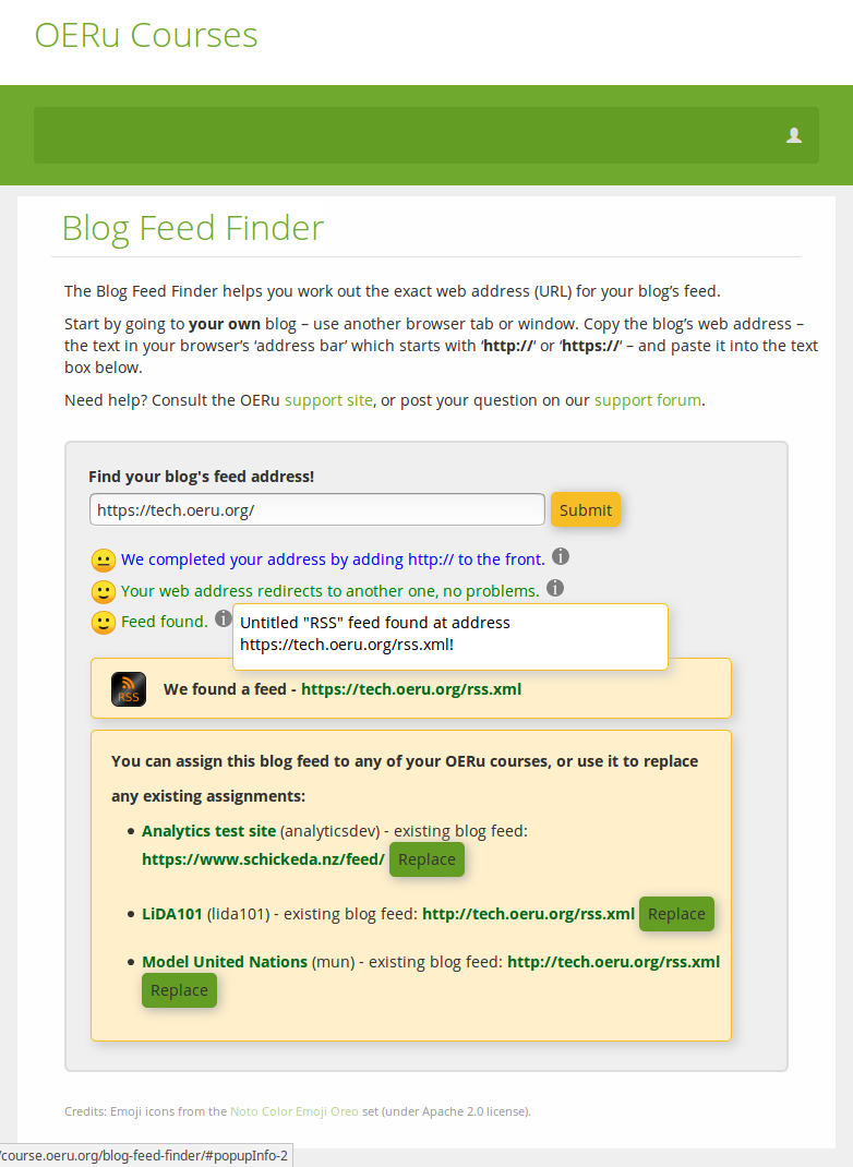 Showing further elaboration of the blog feed finding process.